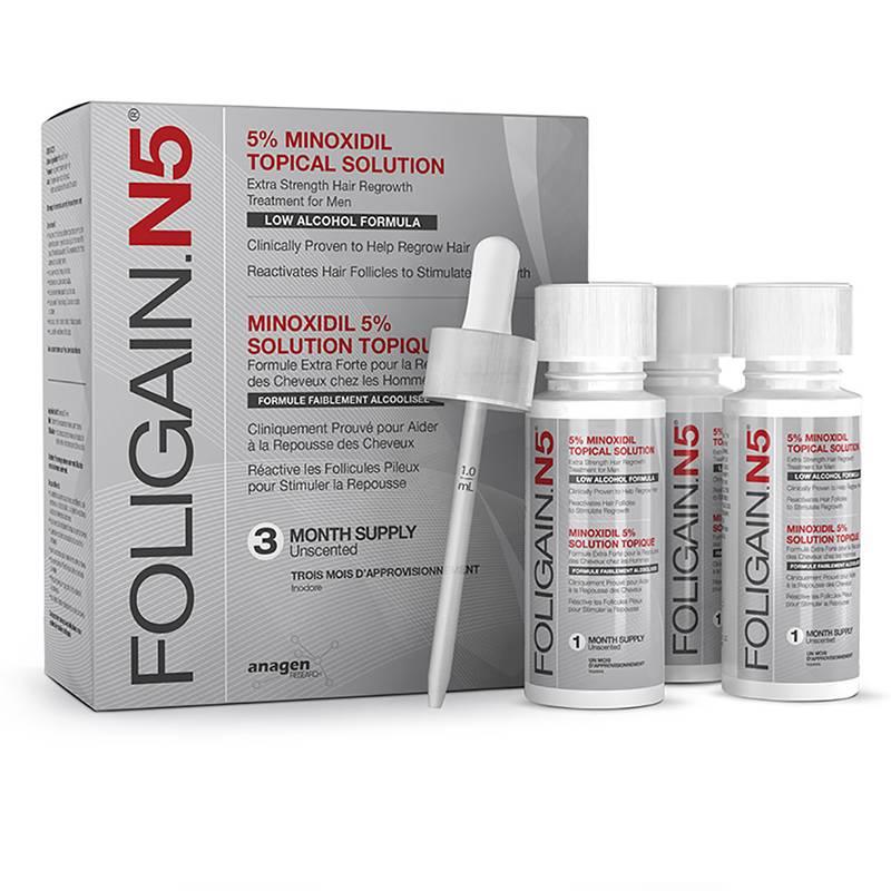 Foligain N5, minoxidil bajo en alcohol
